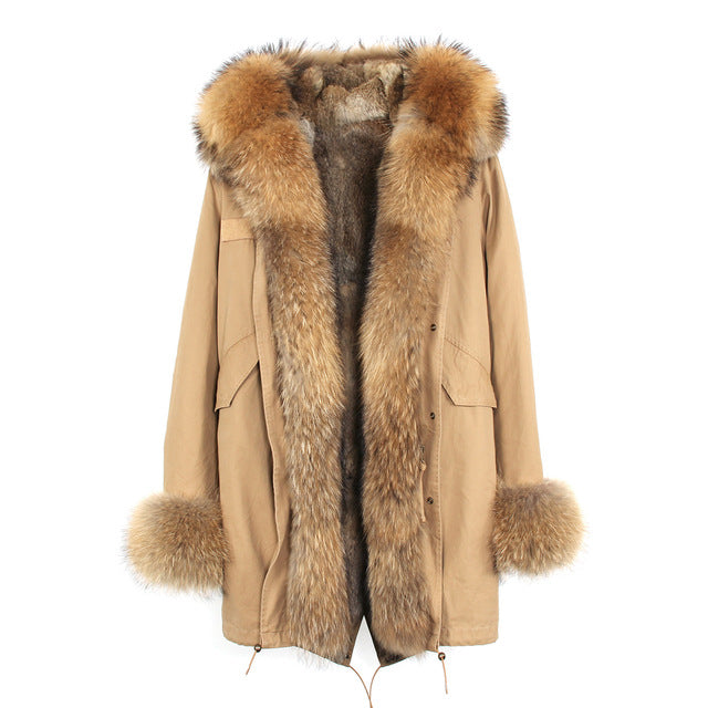 Detachable Fur Collar Hooded Coat