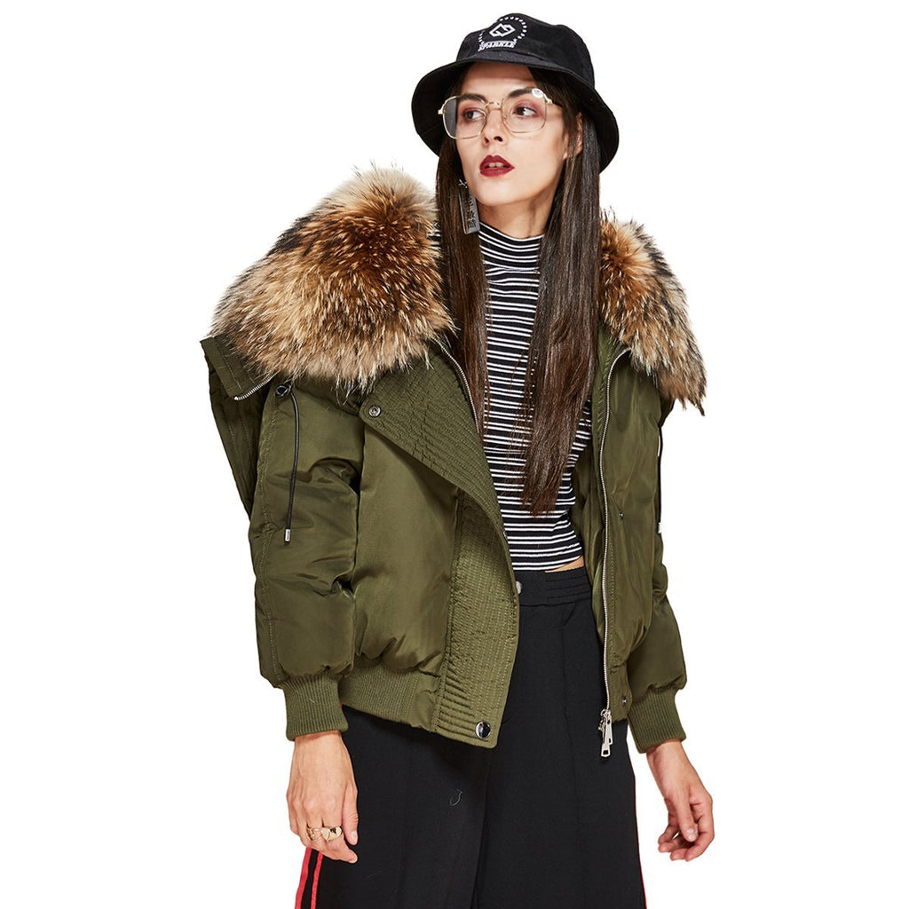 Trendy Women's Down Coat Parka Bomber Jacket