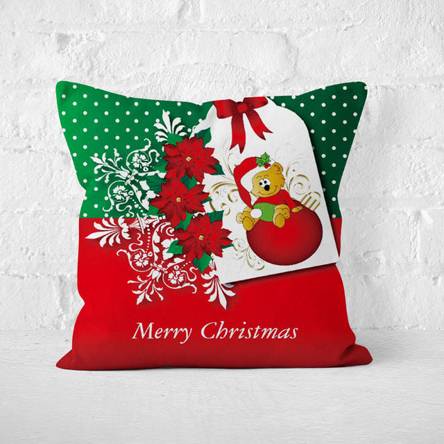Short Plush Santa Claus Soft Cushion Cover