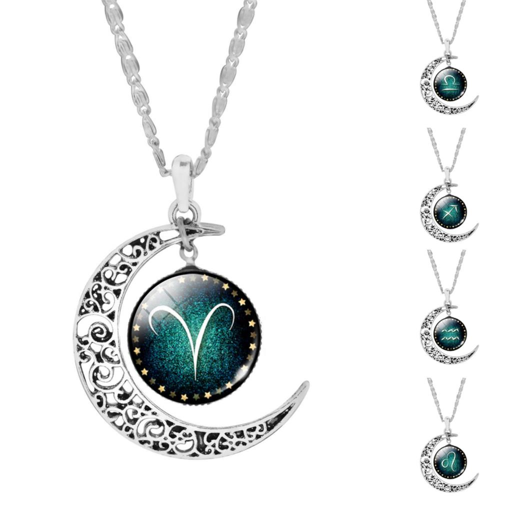 Zodiac Glass Moon Pendant Long Necklace
