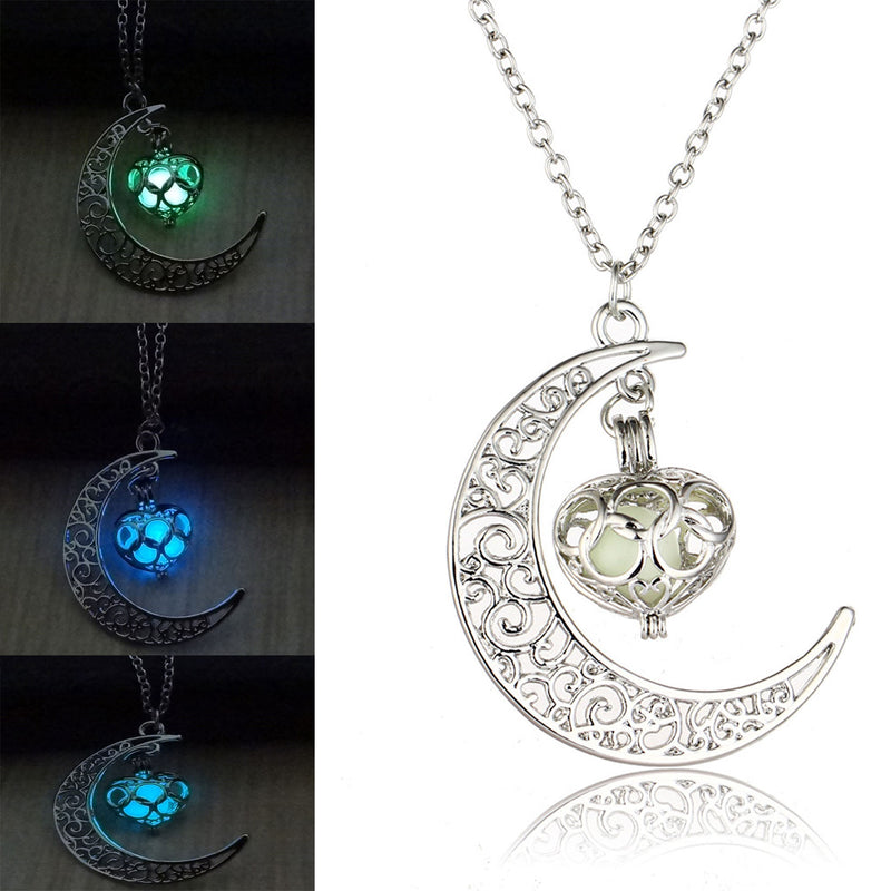 Silver Glow In the Dark Floating Locket Heart Pendant Necklace