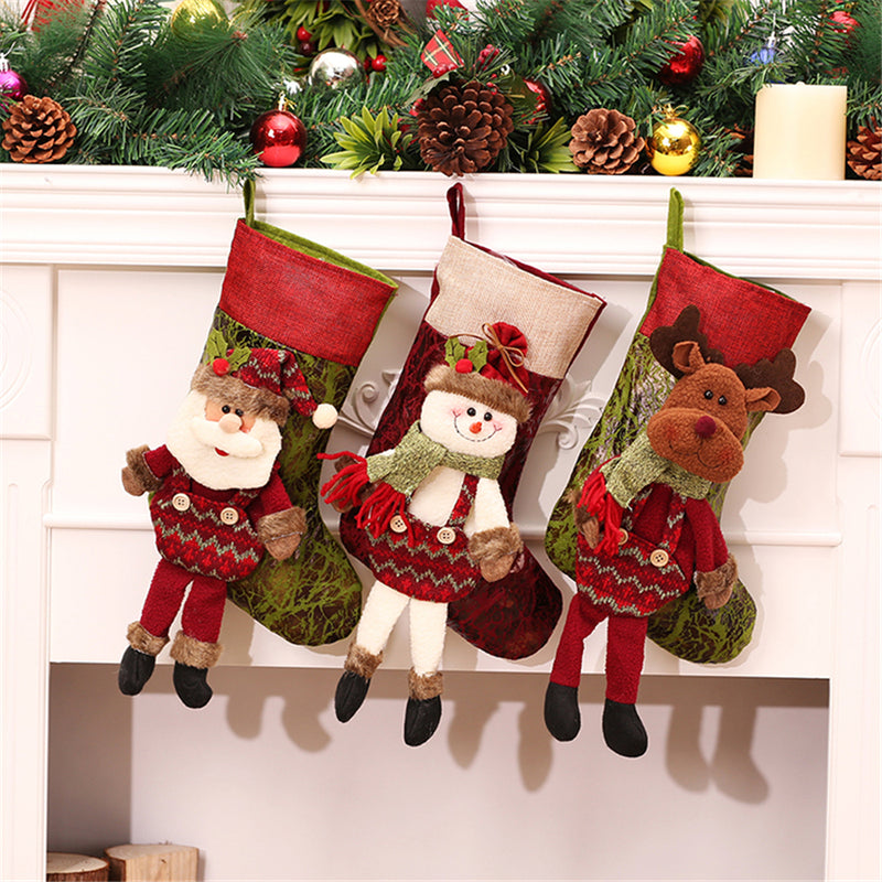 Christmas Stockings Red Canvas Reindeer Bags With Leg