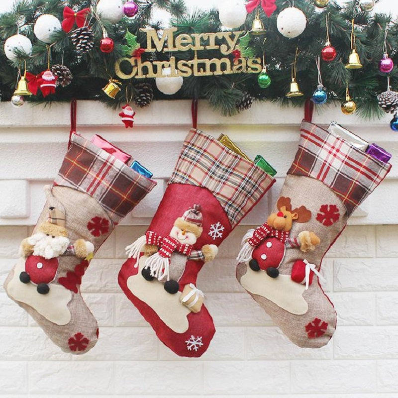 Christmas Stocking Santa Claus Sock Gift Bag