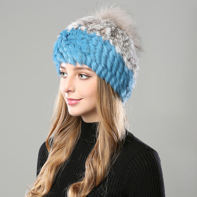 Fur Rabbit Beanie Hat With Pompom