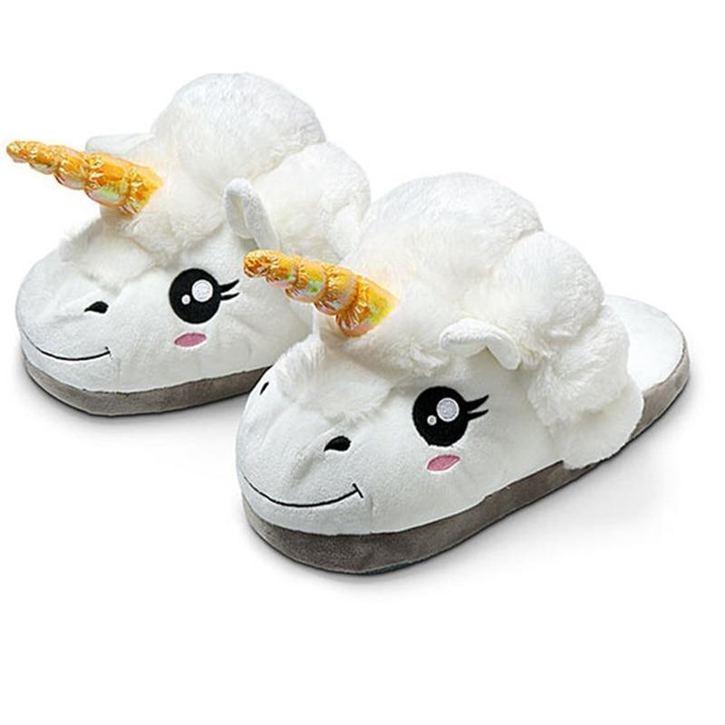 Furry Unisex Plush Unicorn Slippers