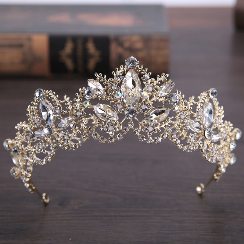 Light Gold Crystal Bridal Crown Tiaras