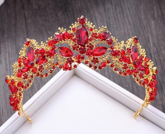 Luxury Red Crystal Bridal Crown Tiaras