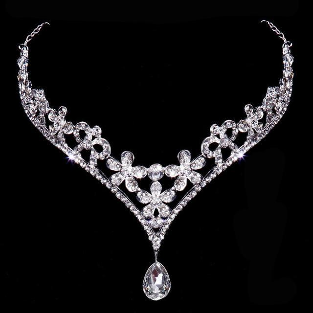 Drop Crown Crystal Bridal Necklace