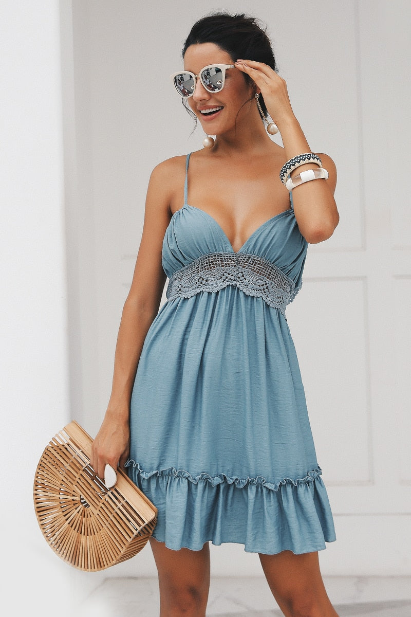 Boho Spaghetti Strap Backless Dress