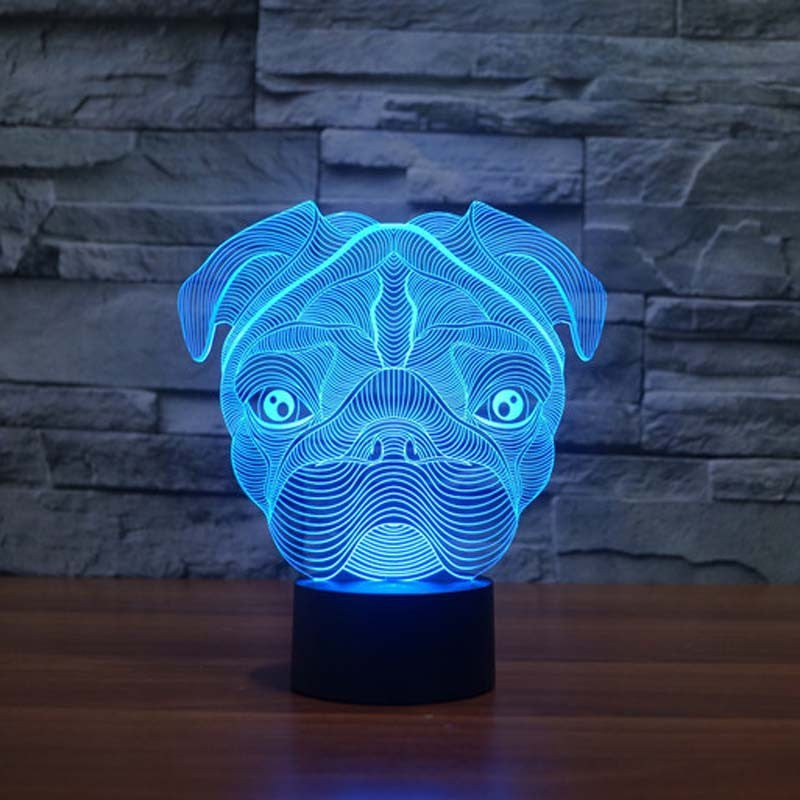 Pug Dog Night Led Lights Table Lamps