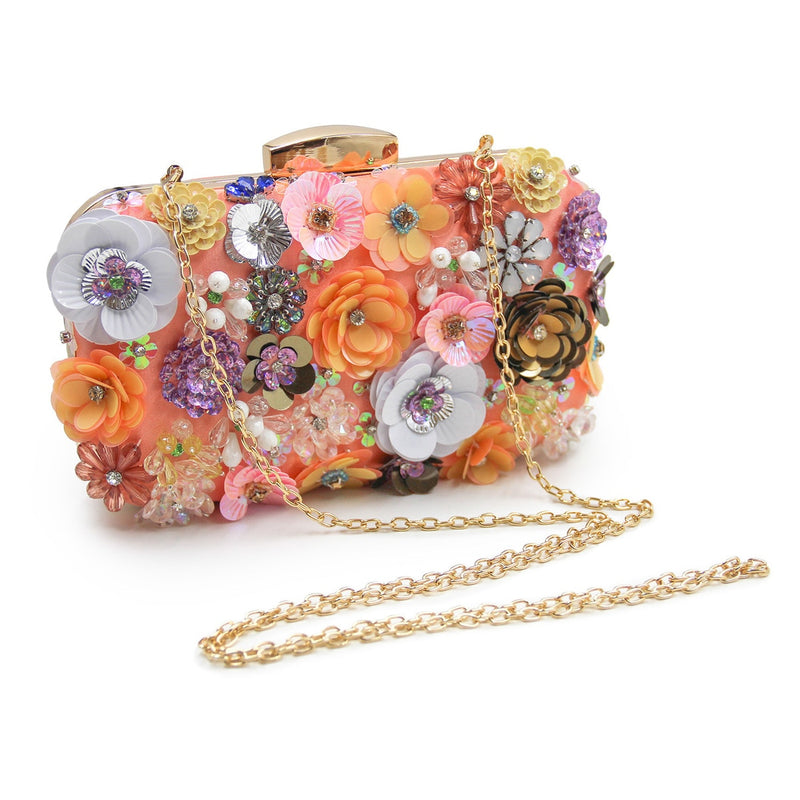 Floral Brie Beaded Flower Clutch Purse