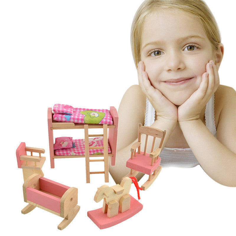 Pretend Play Wooden Doll Bunk Bed Set Furniture Dollhouse Miniature For Kids Child Play Toy