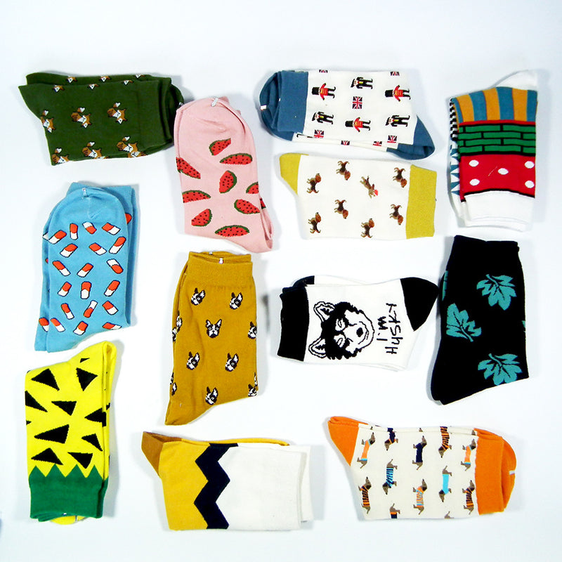Women Men Colorful Dog And Fox Cotton Socks