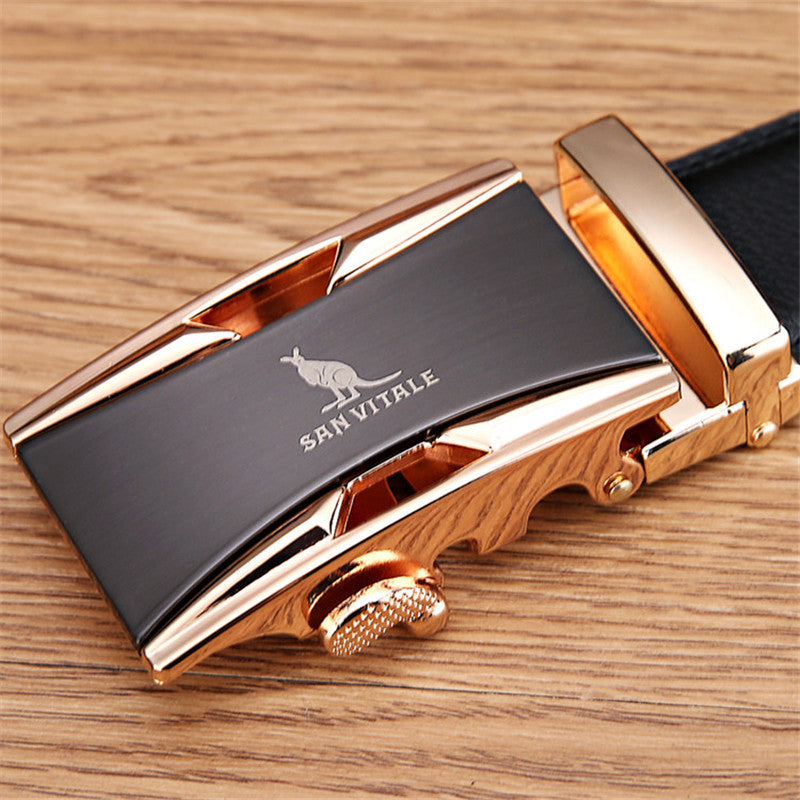 Leather Men's Belt Metal Automatic Buckle