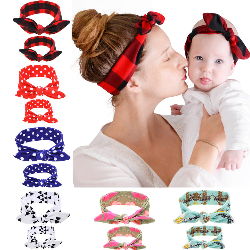 Multi-Color 2PC/Set Mom Baby Rabbit Ears Tie Bow Headband