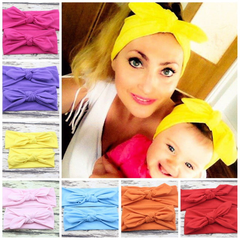 Mom Baby Rabbit Ears Hair Bow Headband