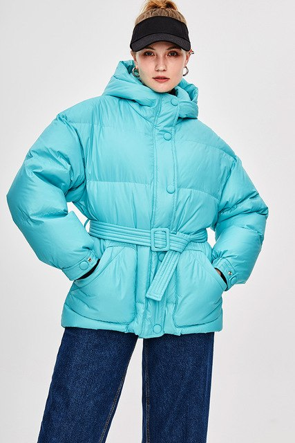 Designer Belted Down Coats Winter Women's Jacket