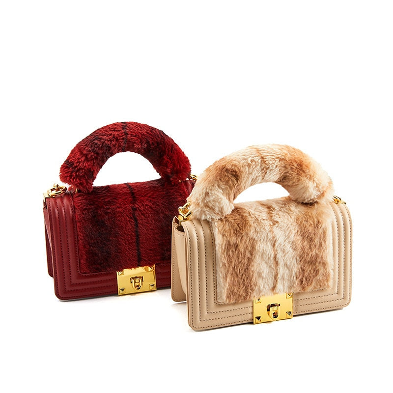 Plush Fur Leather Shoulder Messenger Handbags