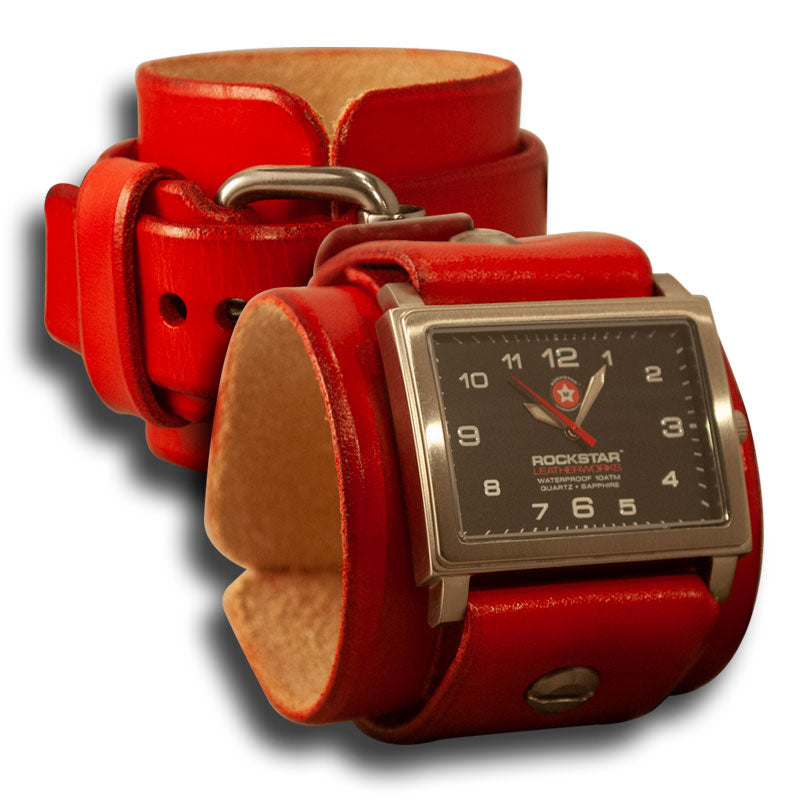 Scarlet Red Leather Cuff Watch - Stainless 42mm, Sapphire-Leather Cuff Watches-Rockstar Leatherworks™