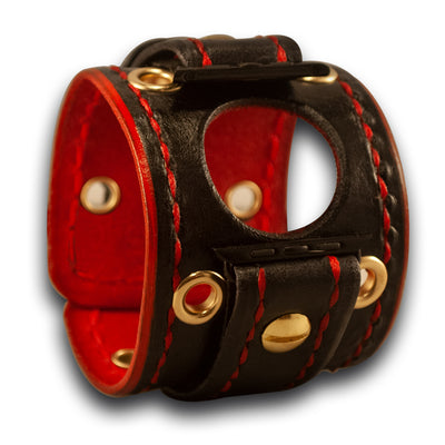 Black & Red Apple Leather Cuff Watch Band with Brass - Series 1-5-Custom Handmade Leather Watch Bands-Rockstar Leatherworks™