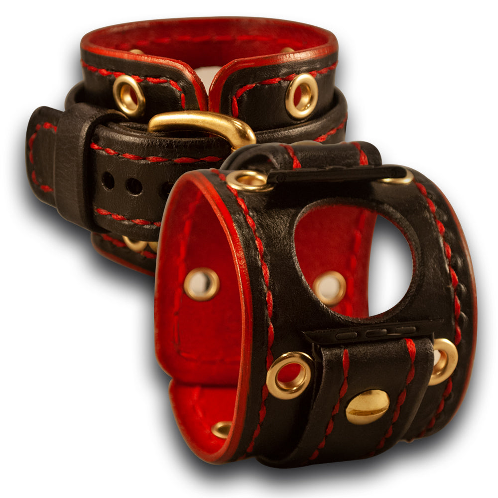 Black & Red Apple Leather Cuff Watch Band with Brass - Series 1-4