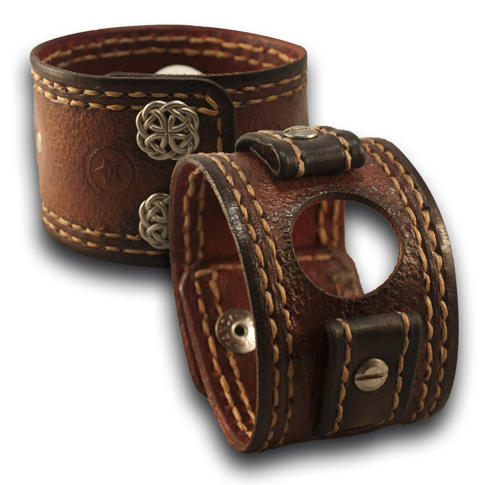 Mahogany Apple iWatch Leather Cuff Watch Band - Series 1-6-Custom Handmade Leather Watch Bands-Rockstar Leatherworks™