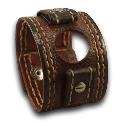 Mahogany Apple iWatch Leather Cuff Watch Band - Series 1-4-Custom Handmade Leather Watch Bands-Rockstar Leatherworks™