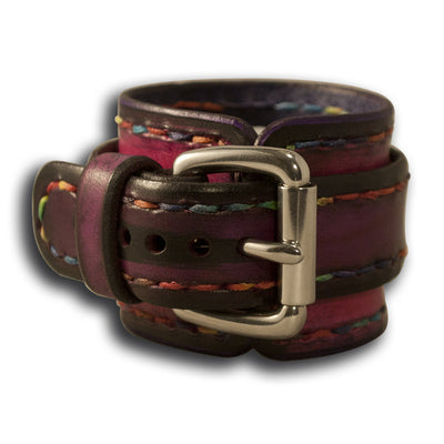 Fuchsia & Purple Apple Leather Cuff Watch Band - Series 1-4-Custom Handmade Leather Watch Bands-Rockstar Leatherworks™