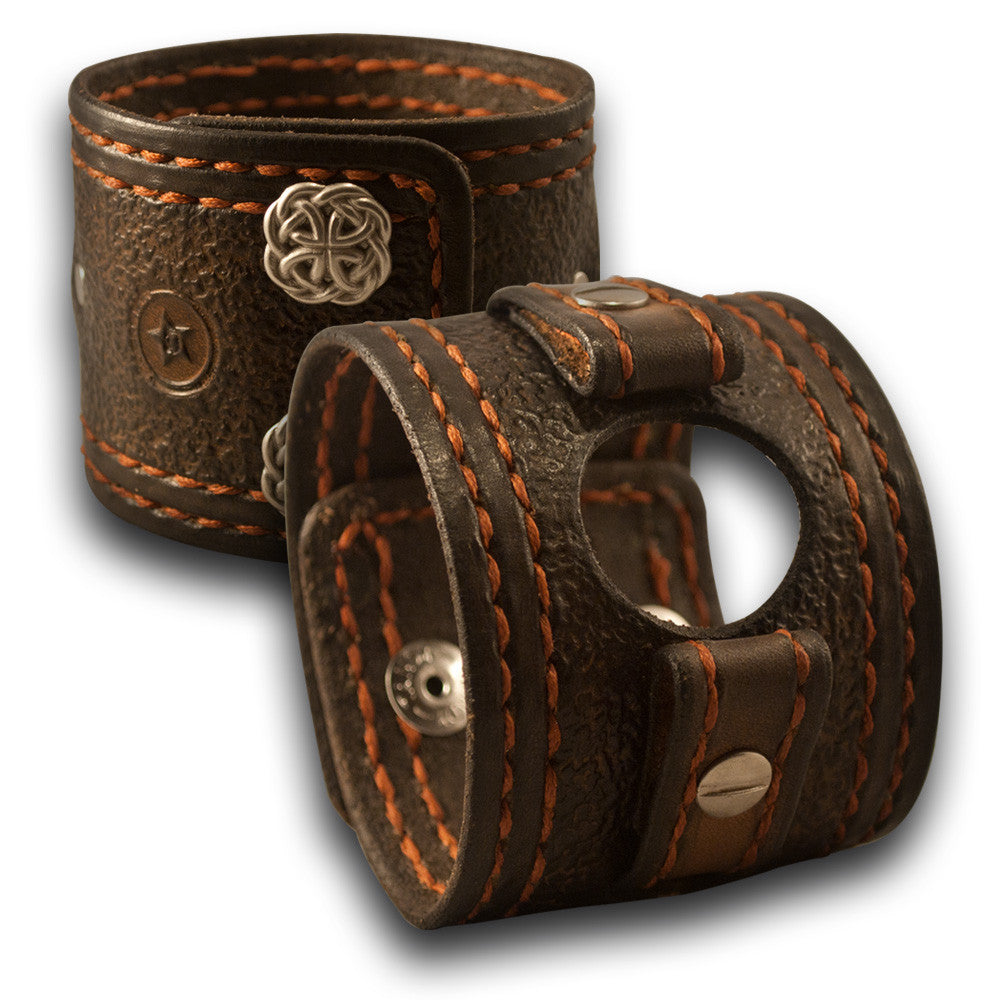 Bison Apple iWatch Leather Cuff Band, Celtic Snaps, Series 1-6-Custom Handmade Leather Watch Bands-Rockstar Leatherworks™