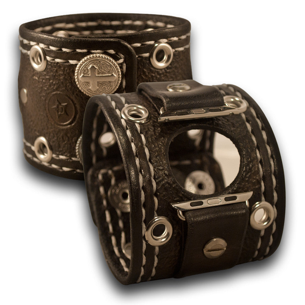 Slate Apple Leather Cuff Watch Band w/ Roped Snaps - Series 1-6-Custom Handmade Leather Watch Bands-Rockstar Leatherworks™