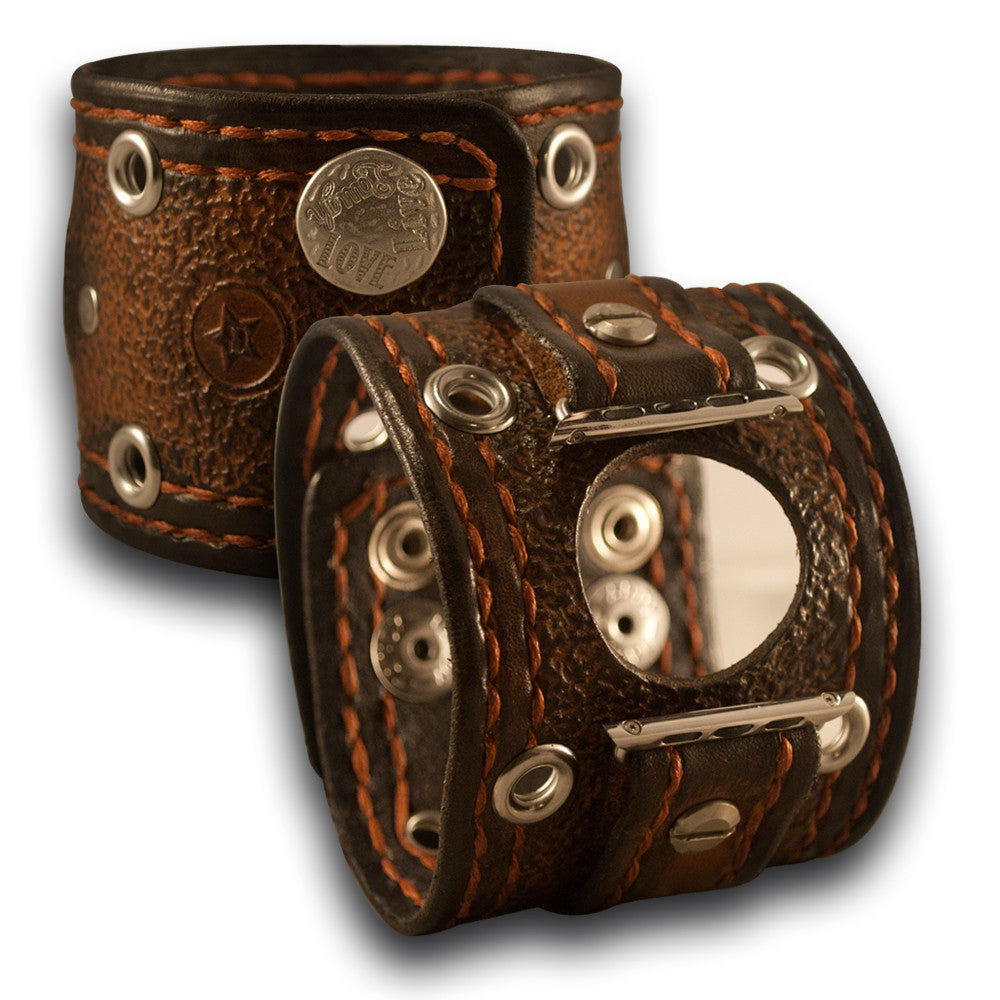 Timber Brown Stressed Apple iWatch Leather Cuff Band, Series 1-4