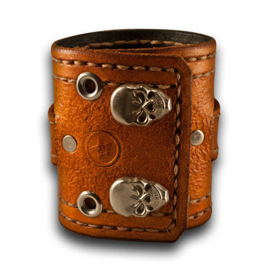 Range Tan Apple iWatch Leather Cuff Band, Skull Snaps, Series 1-5-Custom Handmade Leather Watch Bands-Rockstar Leatherworks™