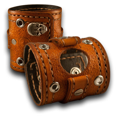 Range Tan Apple iWatch Leather Cuff Band, Skull Snaps, Series 1-4-Custom Handmade Leather Watch Bands-Rockstar Leatherworks™
