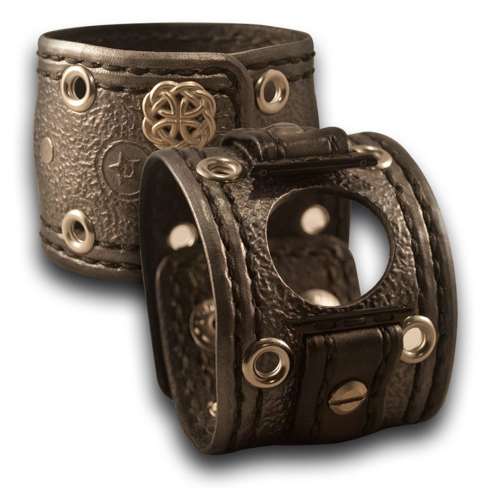 Silver Apple Leather Cuff Watch Band, Celtic Snaps - Series 1-4