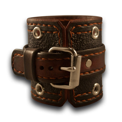 Slate & Bordeaux Apple Leather Cuff Band w/ Eyelets - Series 1-4-Custom Handmade Leather Watch Bands-Rockstar Leatherworks™