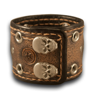 Desert Sand Stressed Samsung S3 Leather Cuff Band with Skull Snaps-Custom Handmade Leather Watch Bands-Rockstar Leatherworks™