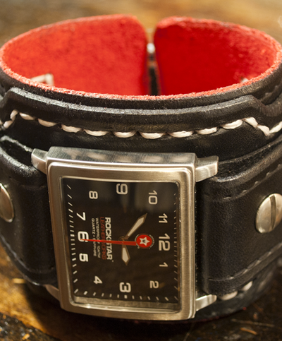 Black Drake Leather Cuff Watch - Stainless, Sapphire, 10ATM-Leather Cuff Watches-Rockstar Leatherworks™