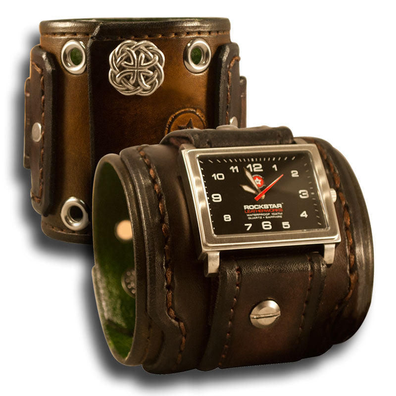 Bison Brown Stressed Layered Leather Cuff Watch - 42mm, Eyelets & Snaps-Leather Cuff Watches-Rockstar Leatherworks™