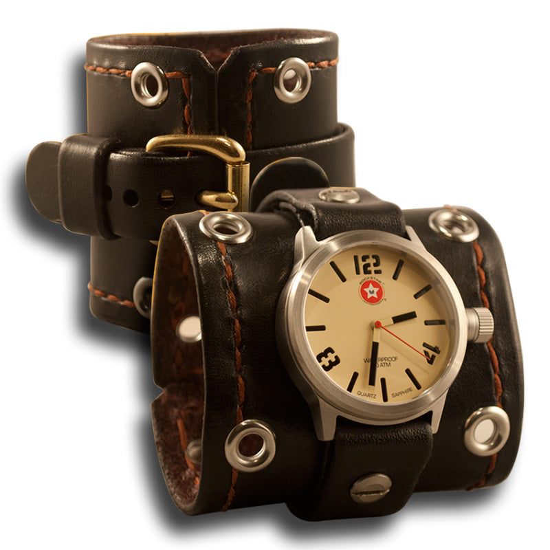 Black Leather Cuff Watch w/ Stitching & Stainless 42mm Sapphire-Leather Cuff Watches-Rockstar Leatherworks™