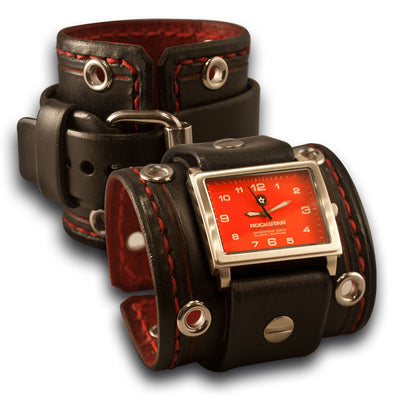 Black & Red 42mm Leather Cuff Watch with Stitching & Eyelets-Leather Cuff Watches-Rockstar Leatherworks™