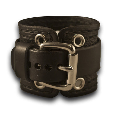Black Samsung S3 Leather Cuff Watch Band with Stainless Eyelets-Custom Handmade Leather Watch Bands-Rockstar Leatherworks™