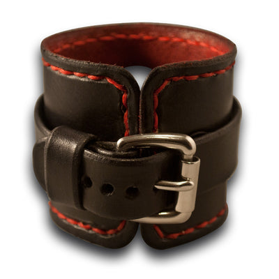 Black & Red Apple Leather Cuff Watch Band with Stitching