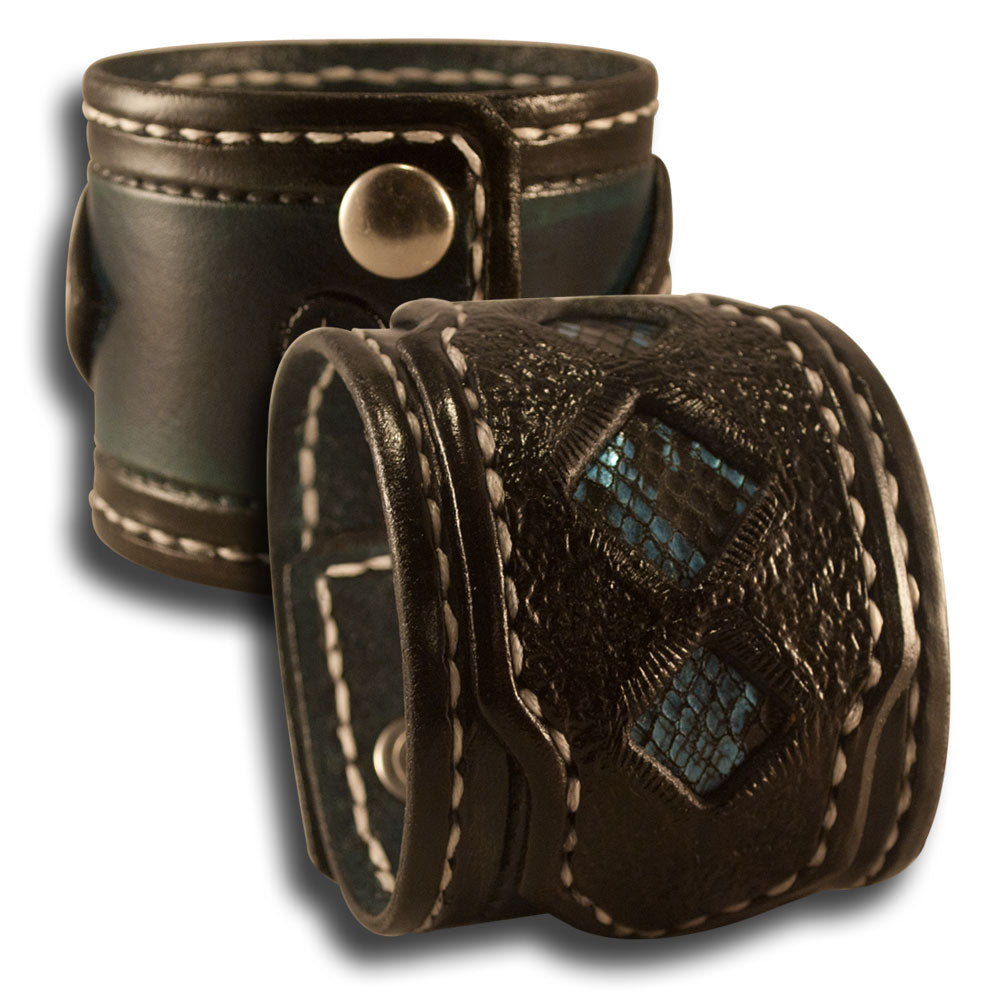 Black Leather Cuff Wristband with Blue Snake Skin Inlay-Leather Cuffs & Wristbands-Rockstar Leatherworks™
