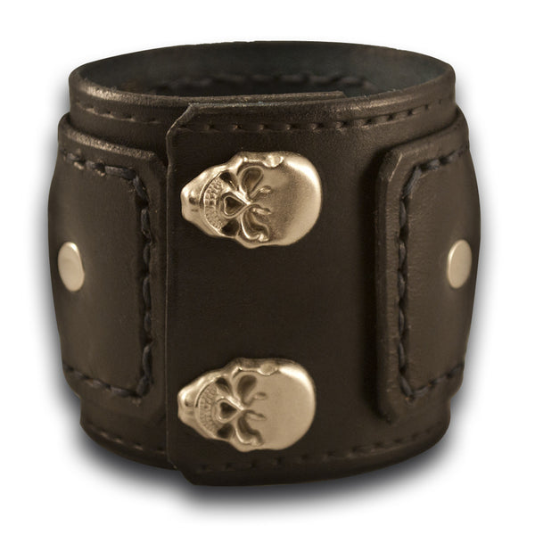 Black Drake Leather Cuff Watch with Skull Snaps-Leather Cuff Watches Rockstar Leatherworks™