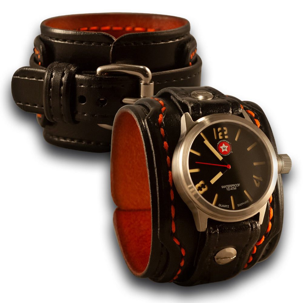 Black & Orange Layered Leather Cuff Watch with 42mm Sapphire, 10ATM-Leather Cuff Watches-Rockstar Leatherworks™