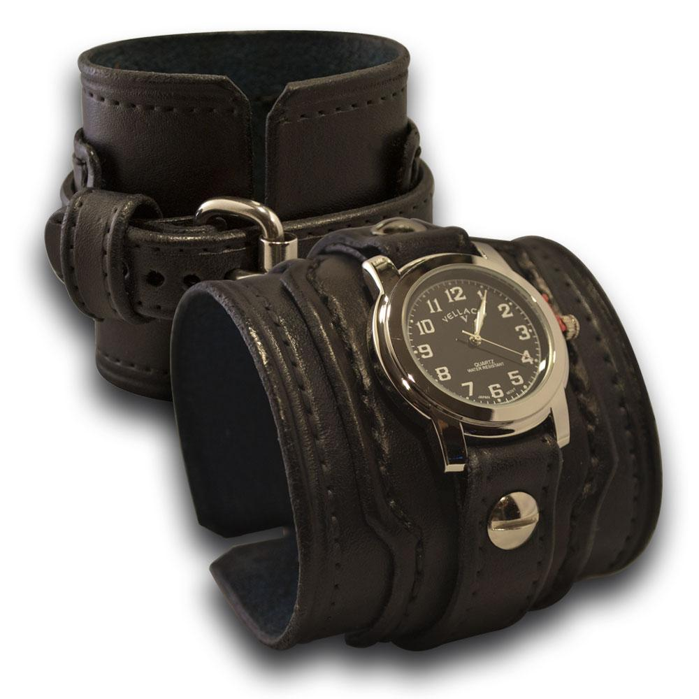 Black Drake Layered Leather Cuff Watch with Stitching and Buckle-Leather Cuff Watches-Rockstar Leatherworks™