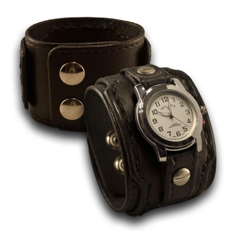 Black Drake Leather Cuff Watch with Stainless Snaps-Leather Cuff Watches-Rockstar Leatherworks™