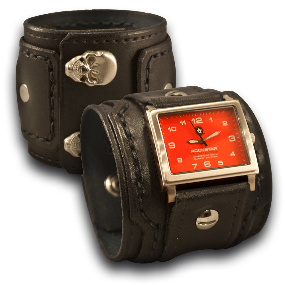 Black Drake Layered Leather Cuff Watch with Skull Snaps-Leather Cuff Watches-Rockstar Leatherworks™