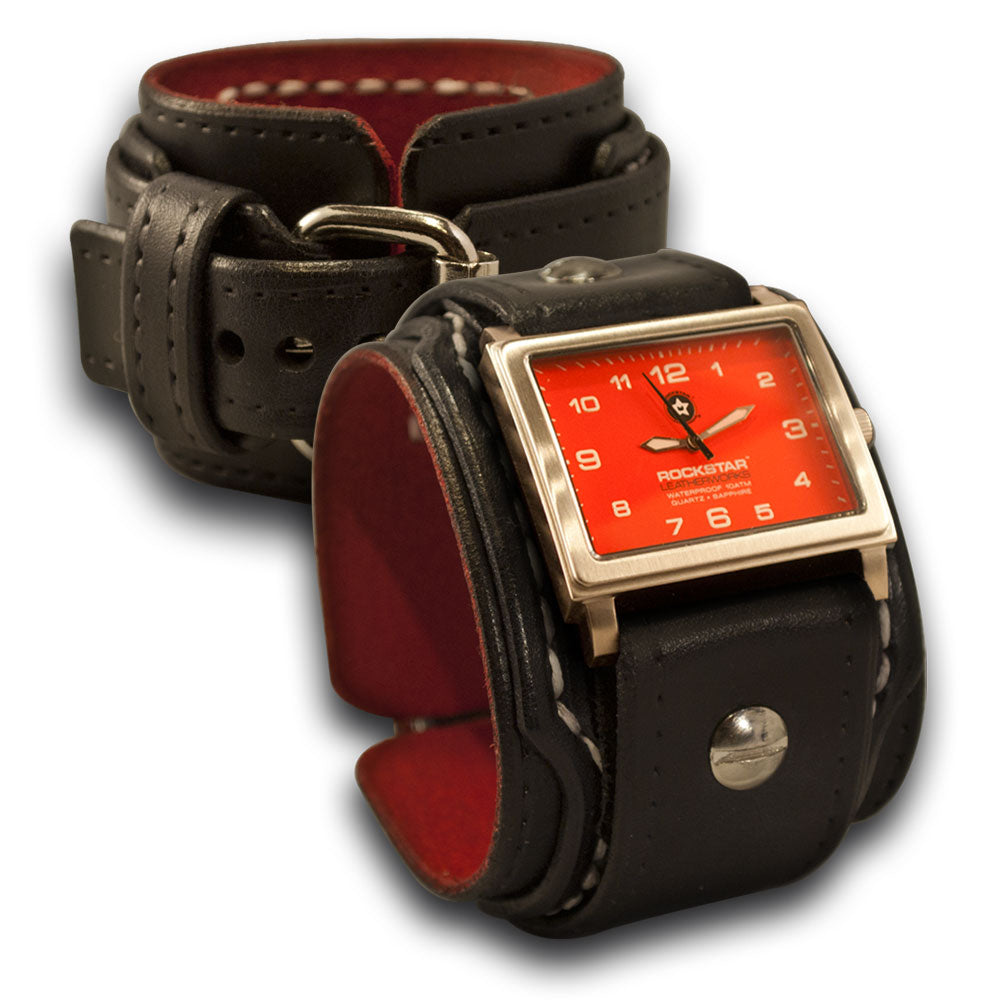 Black Rockstar Drake Layered Leather Cuff Watch White Stitching-Leather Cuff Watches-Rockstar Leatherworks™