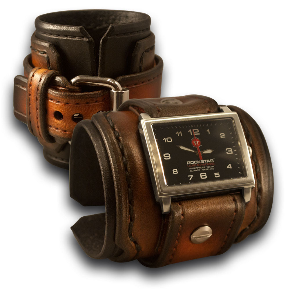 Black & Tan Stressed Drake Leather Cuff Watch with Stitching-Leather Cuff Watches-Rockstar Leatherworks™
